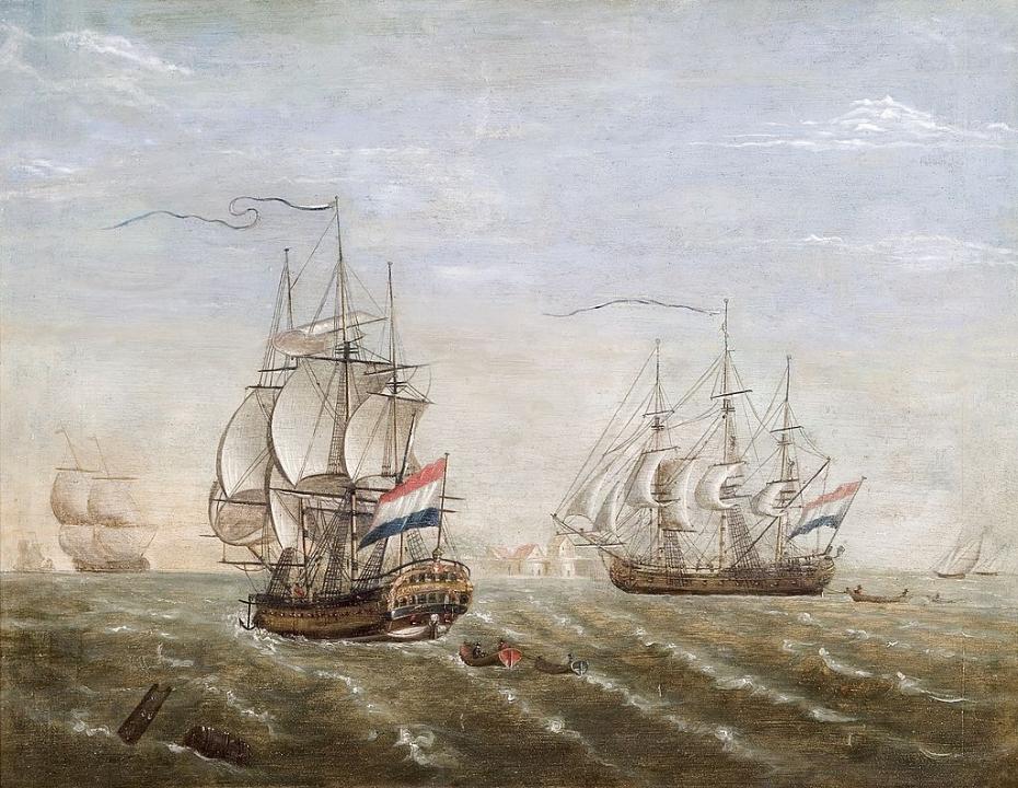 VOC-schip 'Slot Ter Hooge' op de rede van Rammakens.