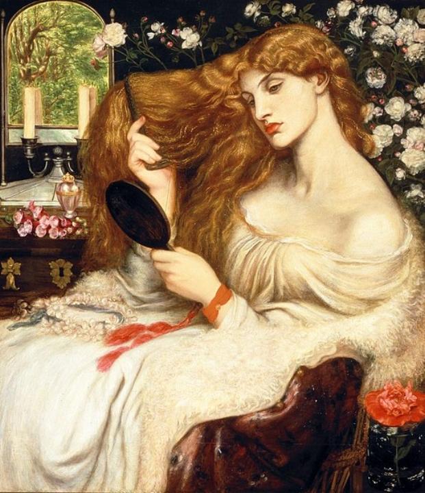 Schilderij 'Lady Lilith' door kunstenaar en dichter Dante Gabriel Rosetti, ca. 1866