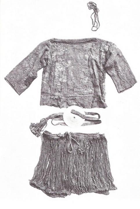 Kleding van het meisje van Egtved, zoals gevonden in haar graf.