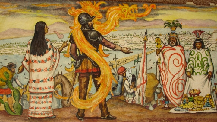 La Malinche naast Hernán Cortés, modern kunstwerk.
