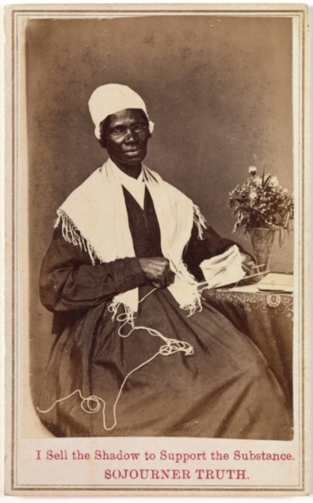 Portretje van Sojourner Truth, die ze verkocht om haar emancipatiestrijd mee te financieren, 1864.