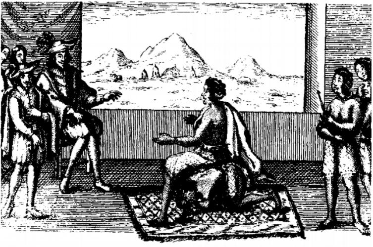 Prent van koningin Nzinga in onderhandeling met de Portugezen, 1657.