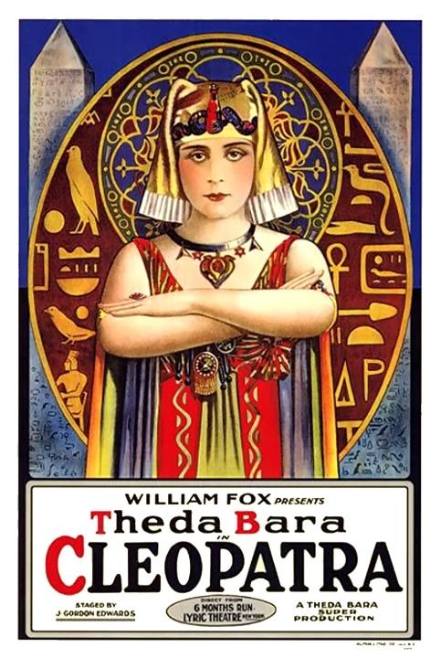 Filmposter met actrice Theda Bara als Cleopatra in de film uit 1917, Twentieth Century Fox.