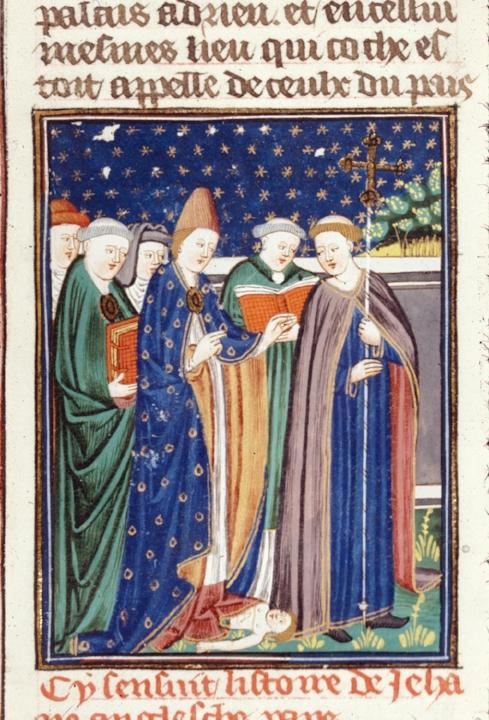 Detail uit een Franse miniatuur over Pausin Johanna, we zien hoe ze tijdens  een processie bevalt van kind, ca. 1440 (British Library).