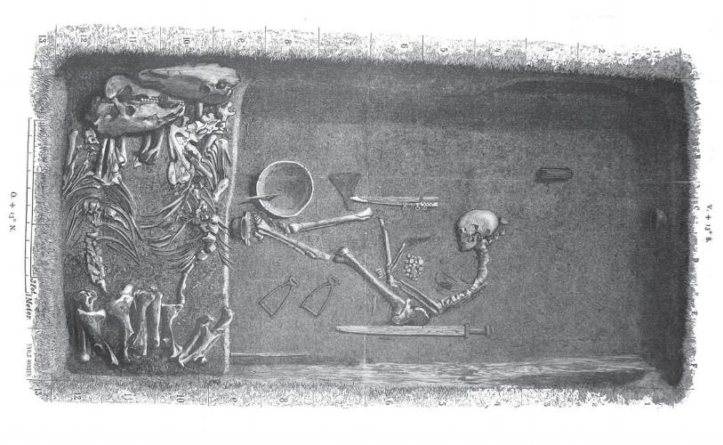 Schets van het graf van de Vikingstrijdster uit Birka, gepubliceerd in 1889. Toen werd nog gedacht dat het om een man ging.