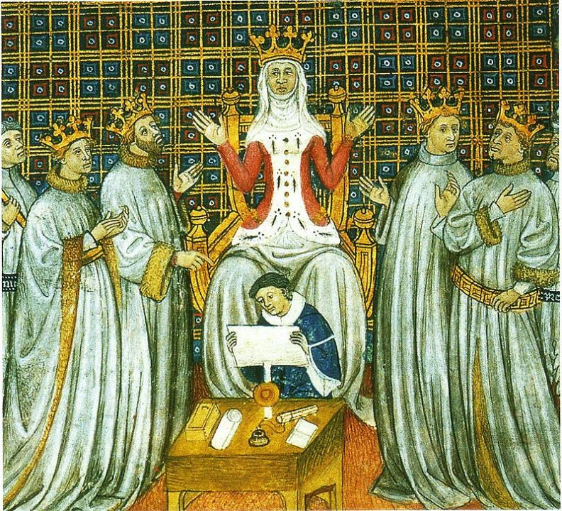 Clothilde met haar zonen, schilderij uit de kronieken van Saint-Denis die tussen de 12e en 15e werden opgesteld