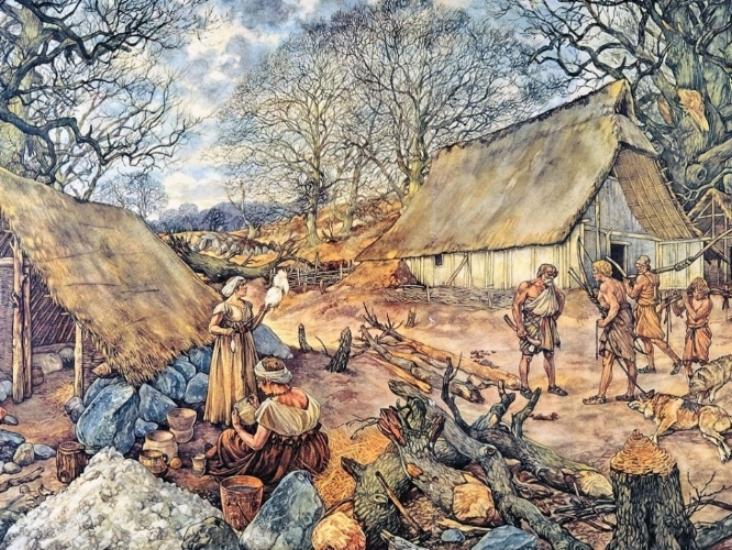 Schoolplaat getekend door Johan Herman Isings - waar generaties Nederlandse scholieren mee zijn opgegroeid - laat een traditioneel beeld van de prehistorie zien.