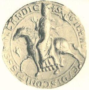 Zegel van Aleid op valkenjacht, 1201, uit:   Corpus Sigillorum Neerlandicorum.