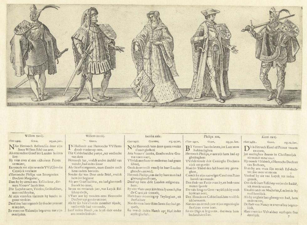Jacoba van Beieren afgebeeld met Willem VI van Beieren, Jan van Beieren, Filips de Goede en Karel de Stoute, prent uit de 16e eeuw (Rijksmuseum).