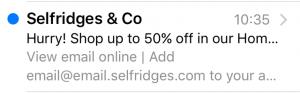 selfridges email in inbox