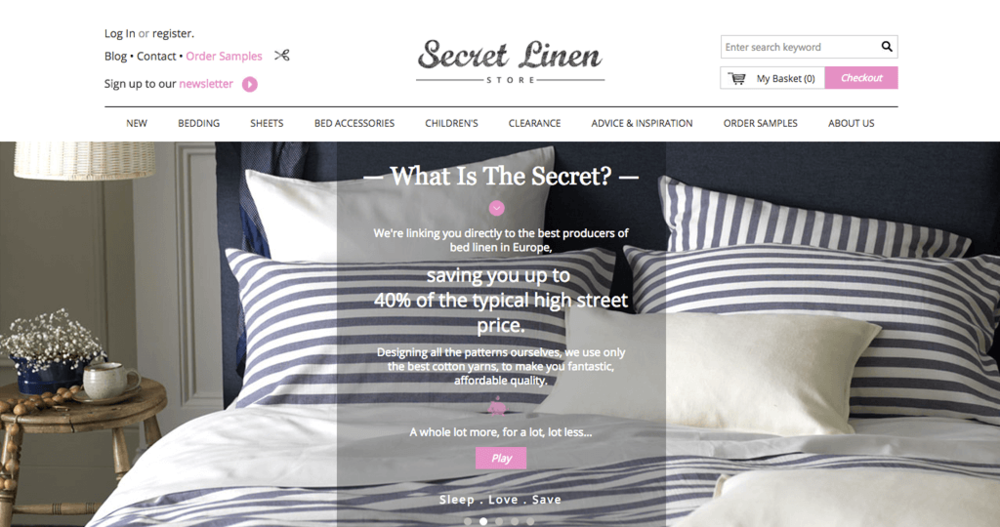 secret linen store homepage image