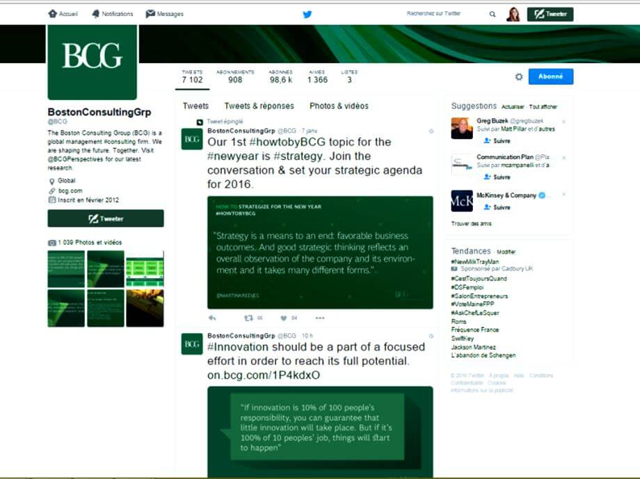 Boston Consulting Group quality and regualrity of content on Twitter