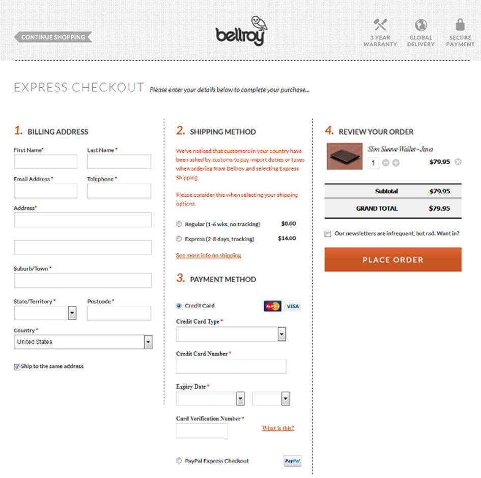Bellroy checkout example - all in one page