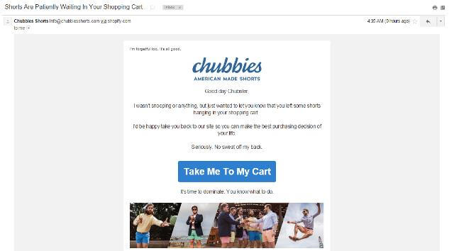 Chubbies Cart abandonment email strategy