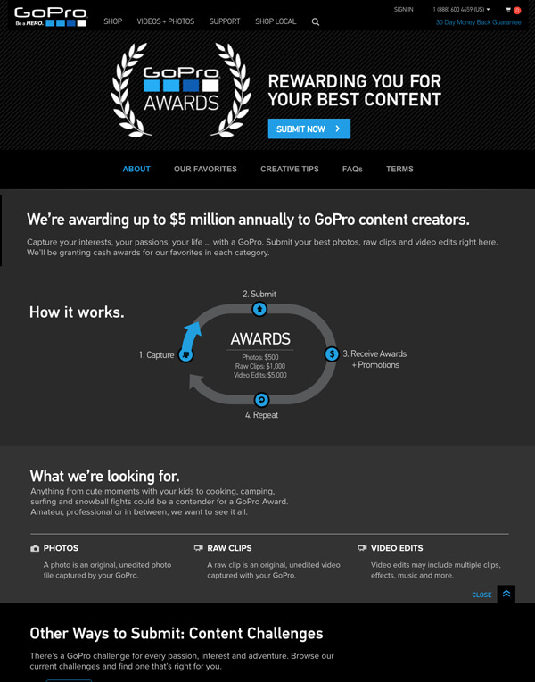 Go Pro awards awesome content marketing example