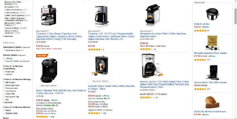 coffee machine Amazon