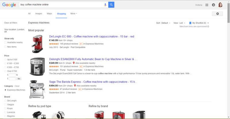 coffee machine google