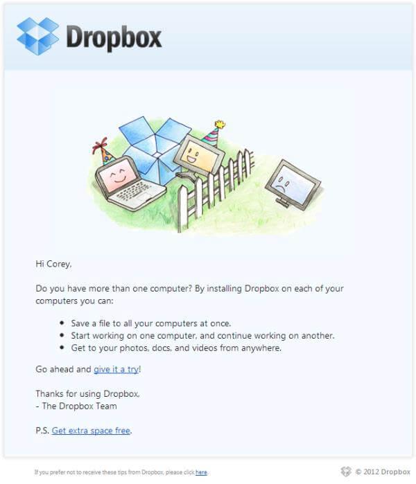 Drop Box smart follow-up email