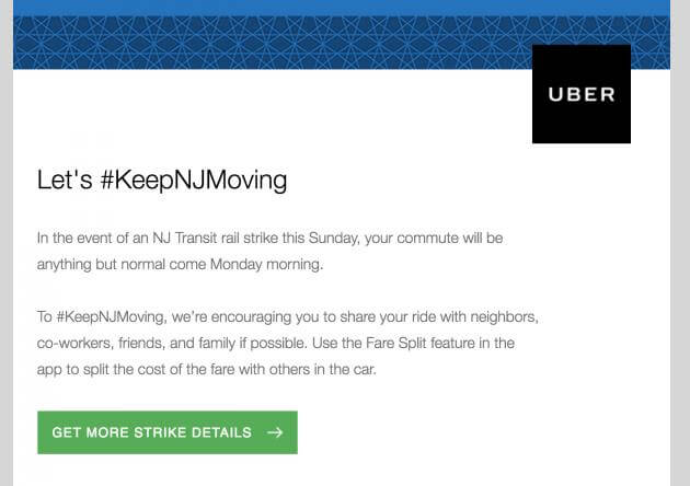 Uber segmented email campaign