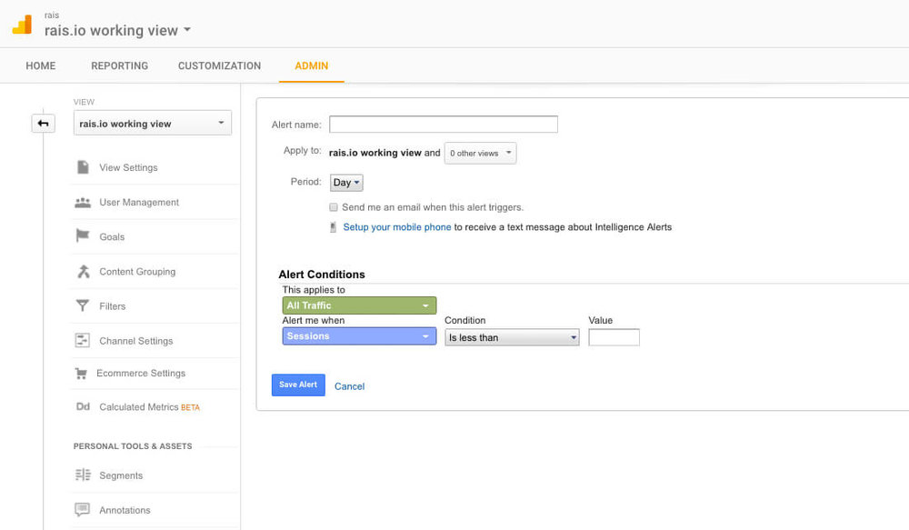 setting up custom alerts on google analytics