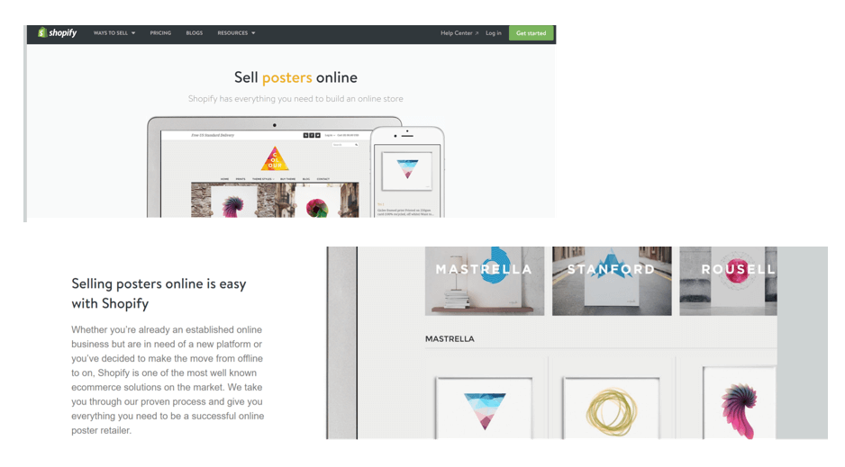 sell posters online shopify
