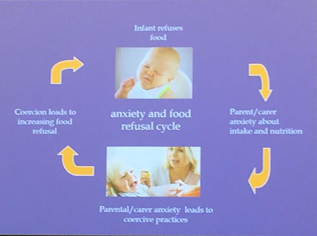 Need help breaking this cycle? Contact Rainbow Plates Feeding Clinic on Facebook for help from an expert Feeding Team of a clinical psychologist, occupational therapist and a paediatric Dietitian all trained in the field of sensory processing feeding problems #RainbowPlatesFeedingClinic #dietitian4kids #fussyeaters #reflux #pullingyourhairout #ICCEB19