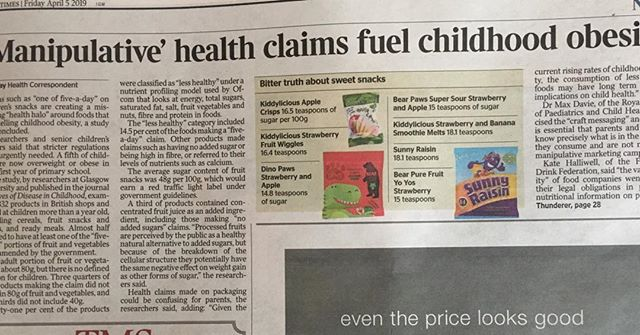 """Sweet snacks for children are misleading parents into thinking their child is having """"one of five-a-day"""". However the average sugar content of these snacks is 48g per 100g product - nearly ten times the daily sugar recommendation for young children! Children do NOT need these snacks. A simple piece of fruit will provide more fibre and goodness with much less sugar than these snacks. #Dietitian4kids #healthyeating #sugarysnacks"""