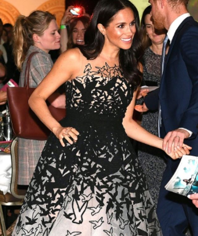 OMG, Ravens, Duchess Meghan is def wearing a Raven dress. From one Duchess to another ... I approve, milady. #masquemacabre #inspo