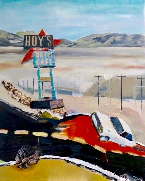 Roy's Motel  Mixed media on board 80 x 60