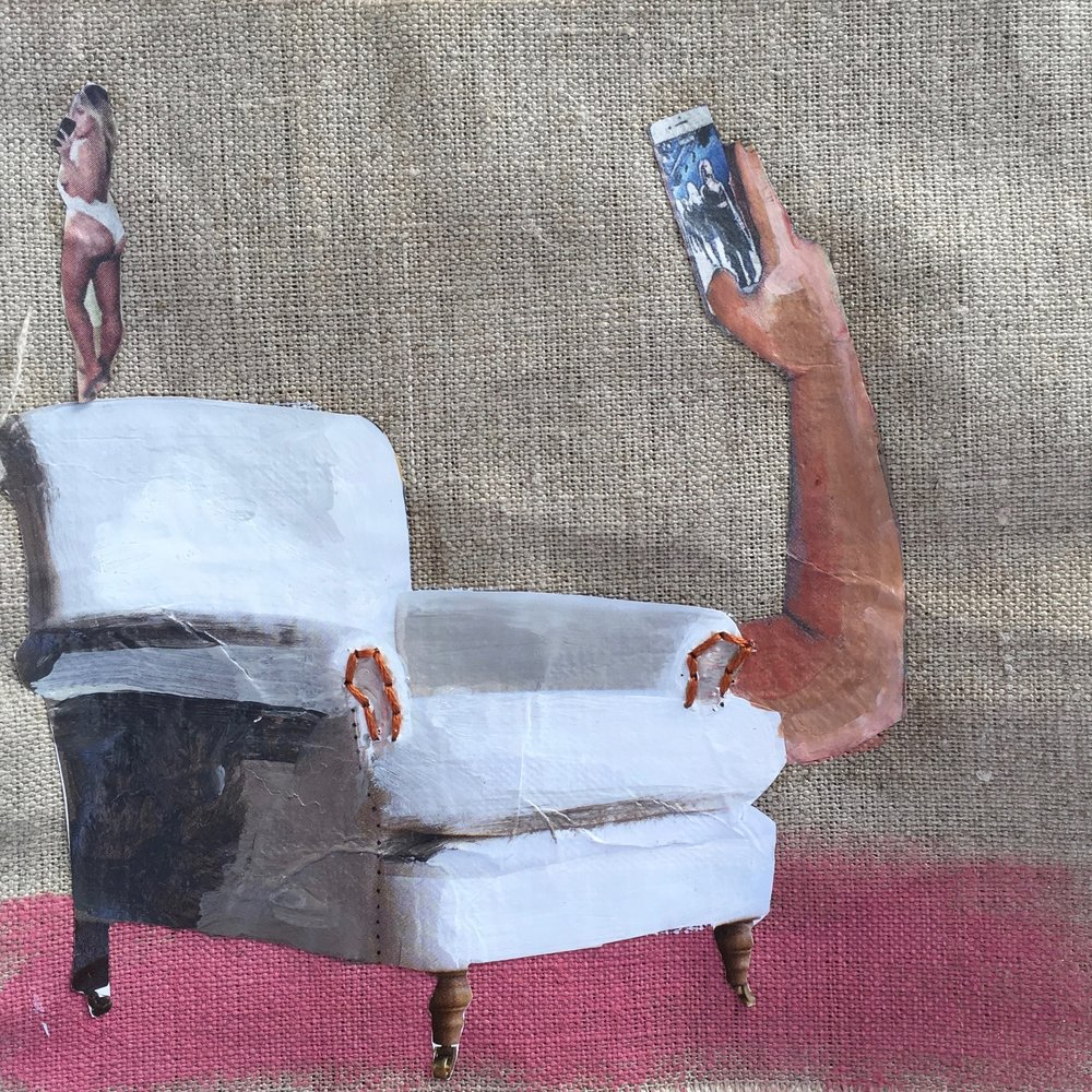 Have a Seat Kim  Mixed media on canvas