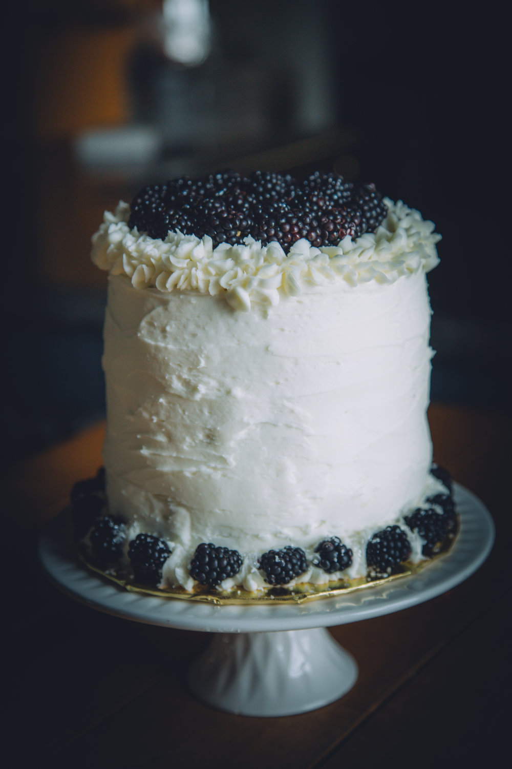 Blackberry Sour Cream Cake with Almond Frosting