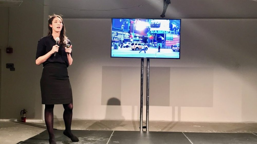 "Alice Formwalt pitches Street Smarts VR at ""Make In Brooklyn."""