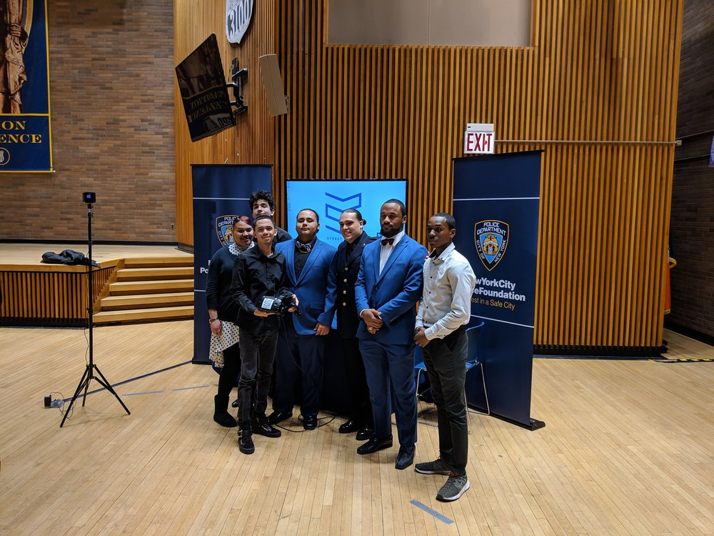 "Student and Officer callaborators at the New York City Police Foundation ""Options"" program unveiling"