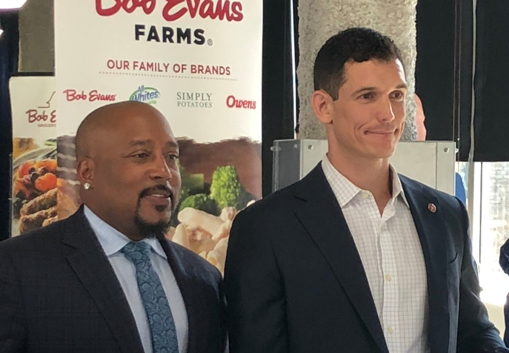 "Oliver Noteware and Damon Jones at the Bob Evans Farms ""Heroes to CEOs"" Program"