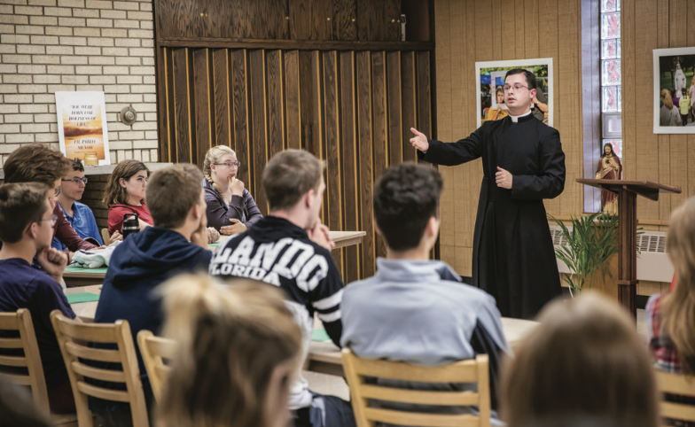 Br. Joe leads a retreat for the Seniors of Chesterton Academy.   Photo by the Religious of Pro Ecclesia Sancta