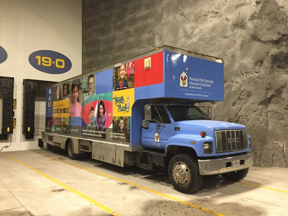 The Ronald McDonald House Tooth Truck, which has provided free dental care to over 24,000 children in the Ozarks, spends cold nights inside Springfield Underground to keep the engine warm and enable them to keep to their busy schedule serving our area's children.
