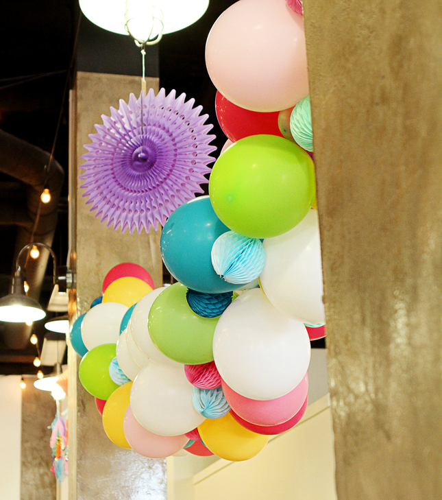 Confetti Balloon arch with tissue honeycombs at an awesome confetti party!
