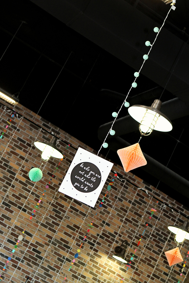 Cute hanging quote and ball lights at a confetti party. Lots of fun confetti ideas!