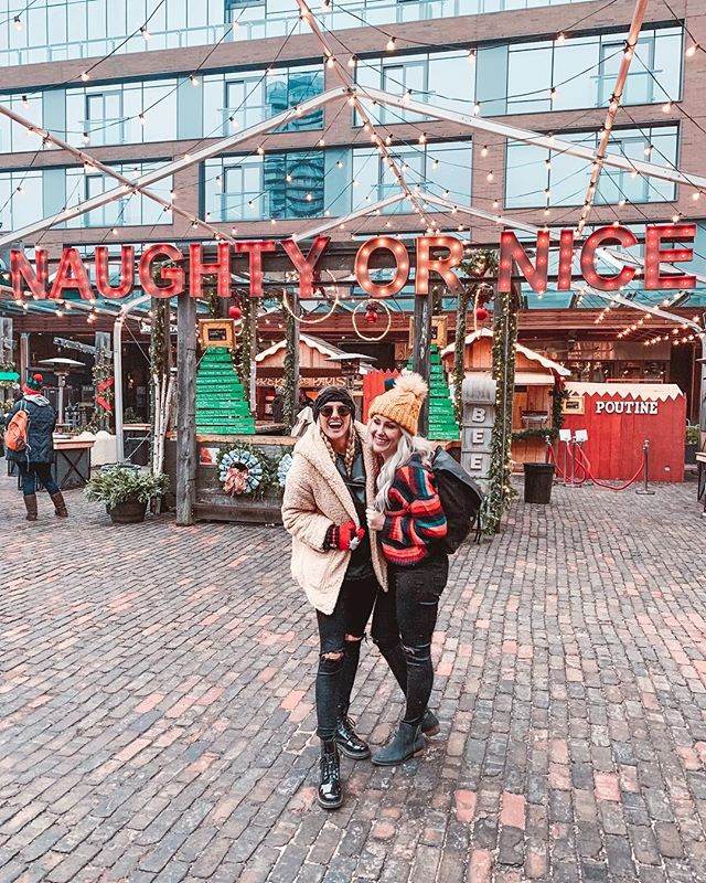 Naughty or nice... we are still trying to decide! 📝❤️ . We had the BEST time at the @toxmasmkt . !  It is the perfect holiday activity for the entire family.  I want to bring my family next year, it definitely got me in the Christmas spirit!  Best shopping, best food, and best new friends! ✨🎅🏻 @seetorontonow @thelifeofjessicaa