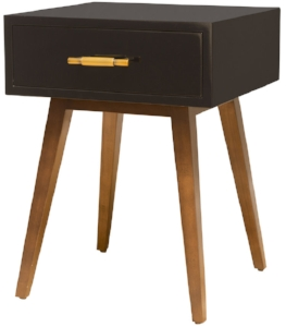 Hayley Bedside Table - The Hayley bedside table by Maestri Studio packs just enough storage + high style into a small footprint. The classic Mid-Century inspired splayed legs and small-batch artisan hardware are the standout features of this piece.