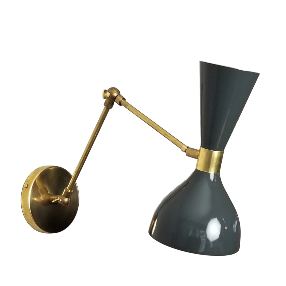 Ludo Articulated wall sconce - $850.00Wall plug with switch(or dimmer) and all metal variants are available. Please inquire about these options.As Shown: Brushed Brass and Intrepid Dark Grey.