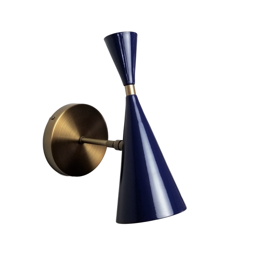 Monolith Wall Sconce - $795.00Wall plug with switch(or dimmer) and all metal variants are available. Please inquire about these options.As Shown: Bronze and Midnight Dark Blue.