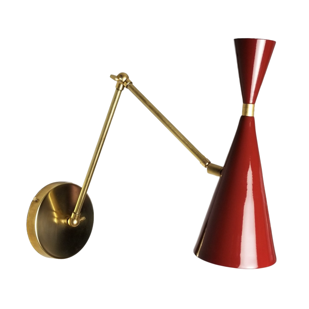Monolith Articulated Sconce - $850.00Wall plug with switch(or dimmer) and all metal variants are available. Please inquire about these options.As Shown: Natural Brass and Livid Red Enamel.