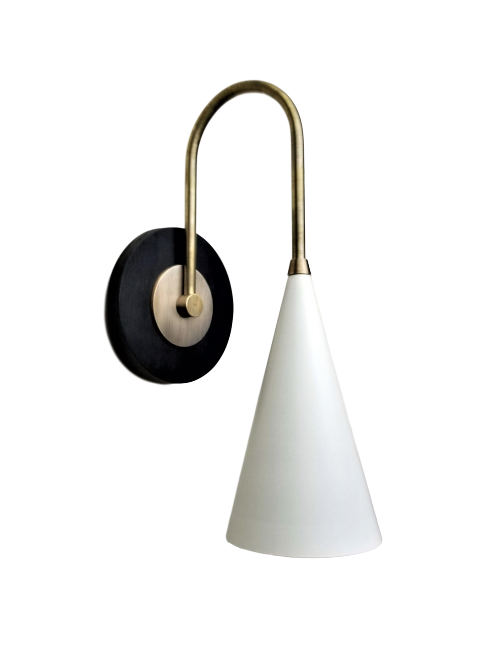 Solana Reading Lamp - $795.00Wall plug with switch(or dimmer) and all metal variants are available. Please inquire about these options.As Shown: Ebony Walnut, Natural Brass, & Perfect White Shade.