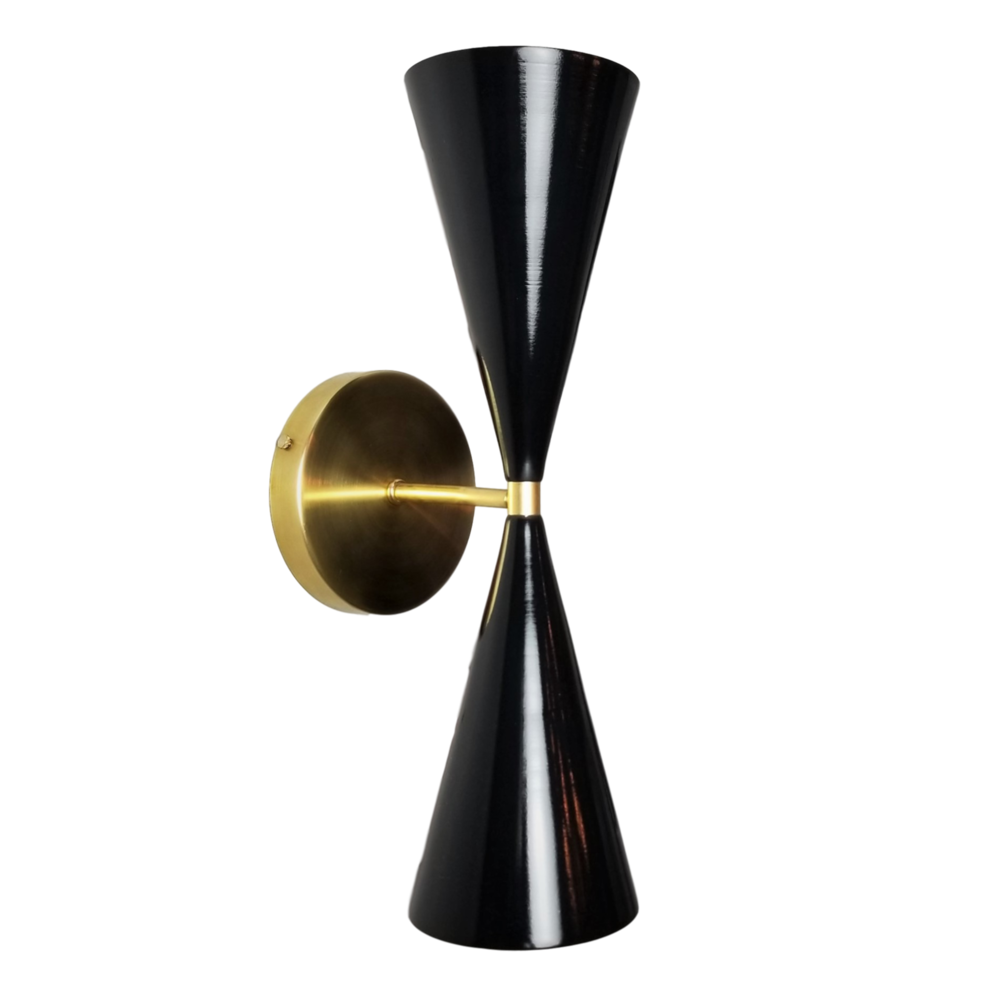 Tuxedo Wall Sconce - $825.00Wall plug with switch(or dimmer) and all metal variants are available. Please inquire about these options.As Shown: Natural Brass and Black.