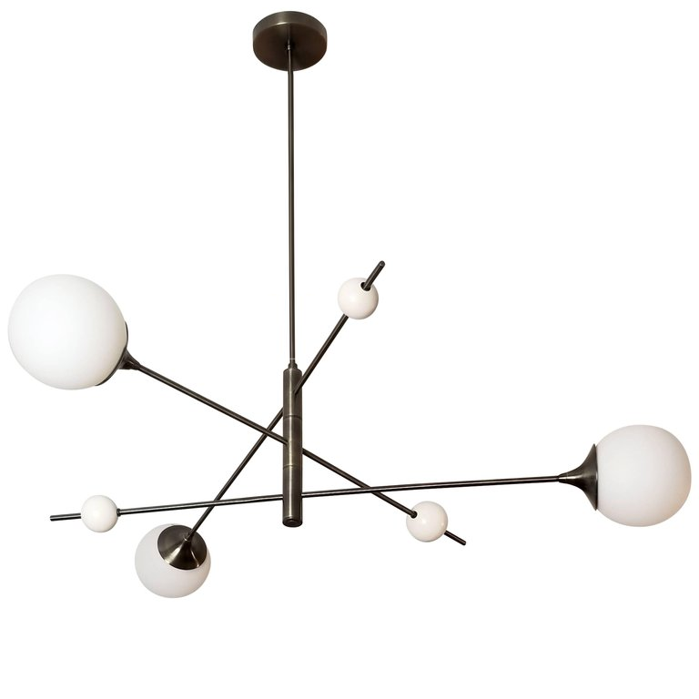 Orbital 3 Tier - $3500.00As Shown: Oil Rubbed Bronze and Matte Globes.Available with clear globes.