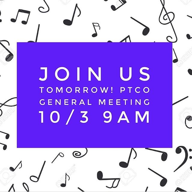 Just a quick 🎵 to remind you of our PTCO meeting tomorrow morning at 9am!  Look forward to seeing everyone there! #creekptco #cchs #ptco