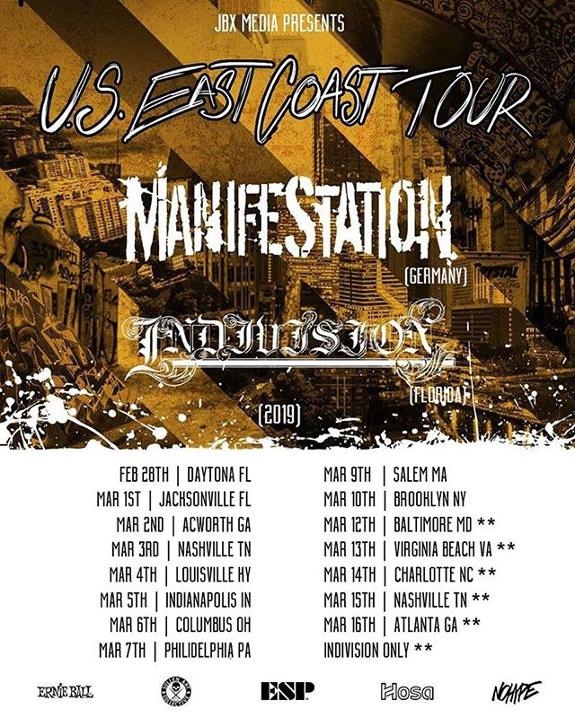 🌹 Tour Announcement 🌹 . . We are stoked to announce that we will be heading out on a East Coast tour with our homies in @_manifestation_band hailing all the way from Germany !!! . ManifeStatioN is a hardcore band and this will be their 4th time touring the U.S. and we can't wait to party on the East Coast starting 2/28/19 !!! . . @ernieball @hosatech  @espguitars  @sullenclothing . #indivisionfl #NDVSN #manifestationhc #hardcore #germanhardcore #metalcore #core #metal #thrash #trapmetal #trapcore #tourlife #tour #espguitars #ernieball #hosatech #sullenclothing #sullenfamily #tattoo #urban #party #german #music