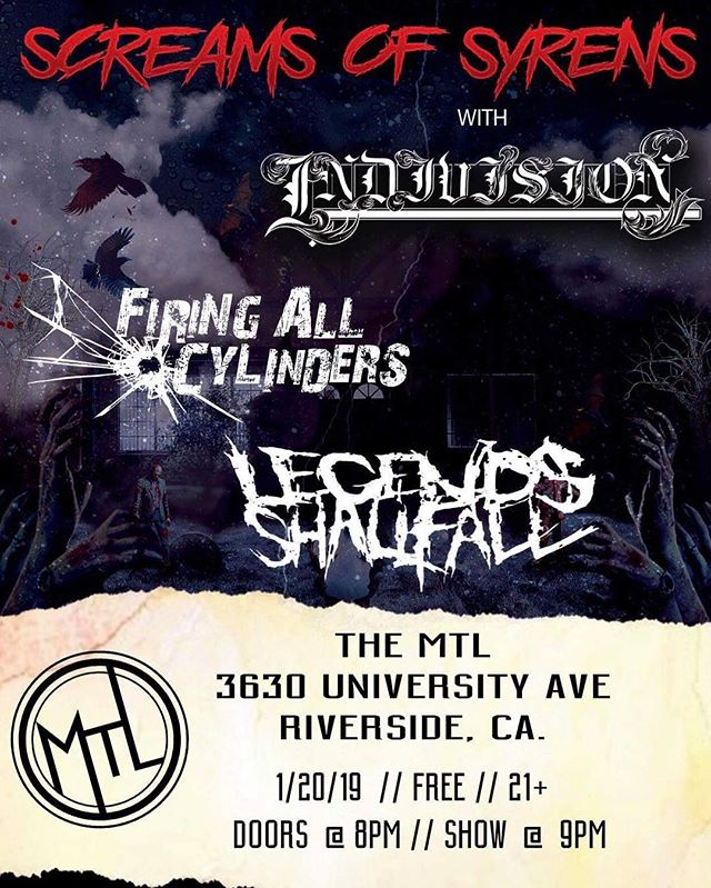 🔥🔥🔥🔥 . Here we go !!! Tonight is the final tour date with our homies in @screamsofsyrens over in Riverside Ca. At @themtlriverside . We get to also share the stage with @firingallcylinders and @legendsshallfallband...shows starts at 9pm exactly so get there and let's Rage one last time on the West Coast !!! . . #indivisionfl #NDVSN #screamsofsyrens #riverside #inlandempire #tour #tourlife #metalcore #postcore #posthardcore #djent #deathcore #ernieball #iplayslinky #espguitars #hosatech #hosacables #sullenclothing