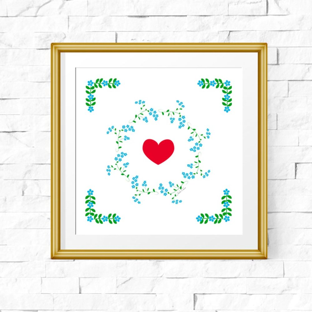 A delightful gift for you - no strings! - A downloadable & printable forget-me-not art print (approximately 8 x 8 inches so you can print it easily on any machine) Do I need to mention the gold frame isn't included? Good 😊